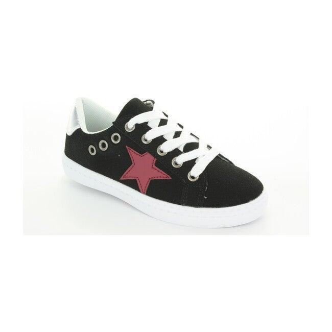 Mia Star Lace Sneaker, Black Suede