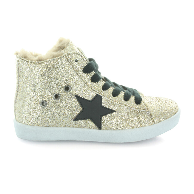 Fay's Fur Star Lace High Top, Gold Glitter
