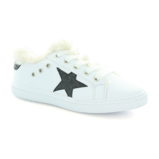 Ava's Star Fur Lace Sneaker, White