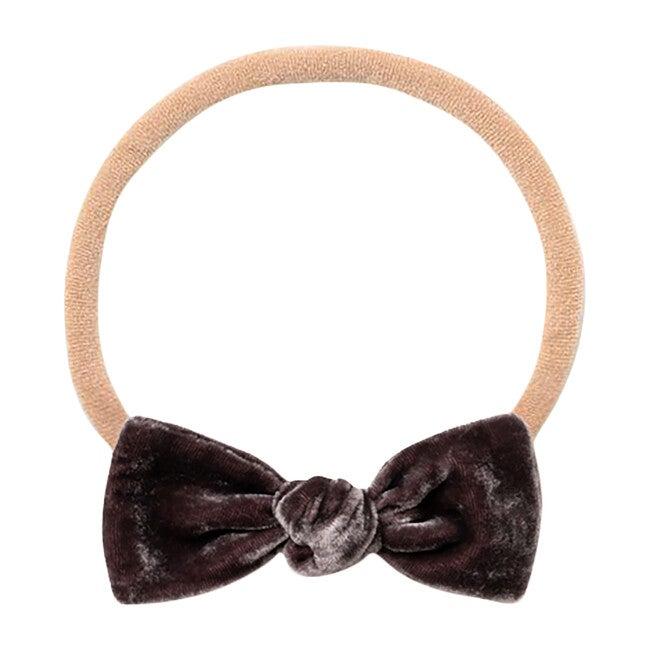 Mini Bow Headband, Grey Velvet