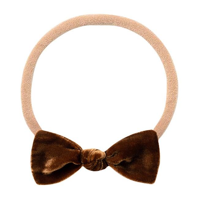 Mini Bow Headband, Brown Velvet
