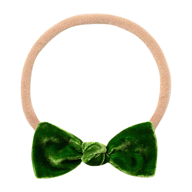 Mini Bow Headband, Green Velvet