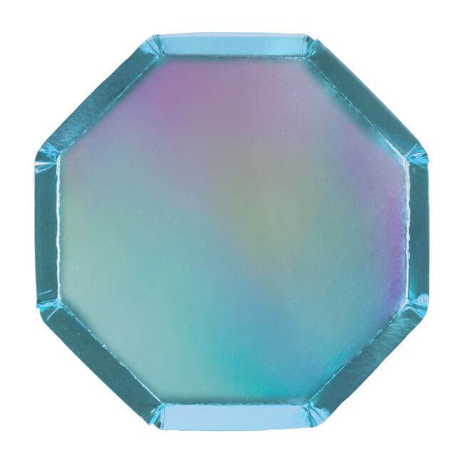 Holographic Blue Cocktail Plates
