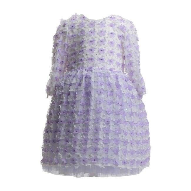 Flowers Chiffon Dress, White Lilac