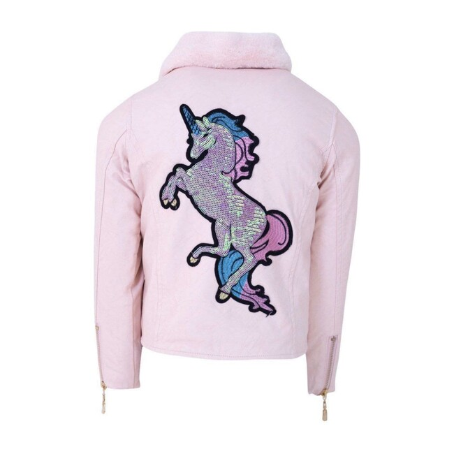 Sequin Unicorn Vegan Leather Jacket, Pink
