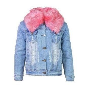 Distressed Faux Fur Denim Jacket, Light Pink