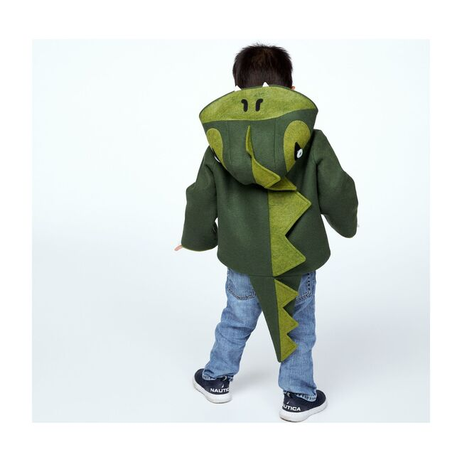 Cheeky Green Dinosaur Coat, Green