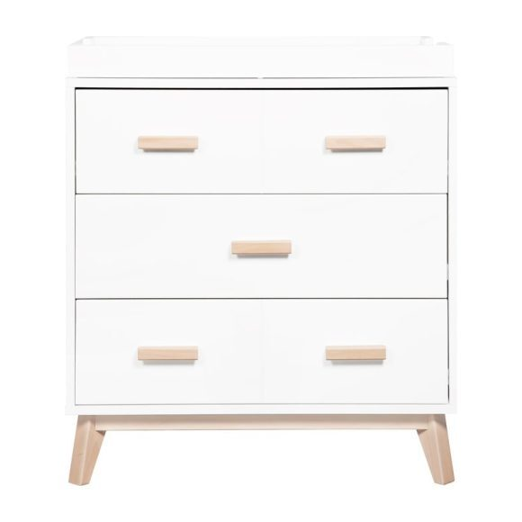 Scoot 3-Drawer Changer Dresser with Removable Changing Tray, White/Washed Natural