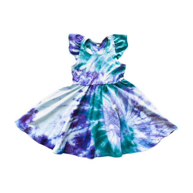 Ruffle Twirly Tie Dye Dress, Blue & Purple
