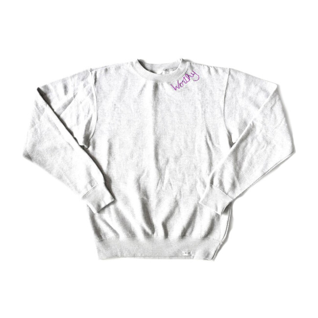 Adult Embroidered Worthy Crew Neck, Grey & Purple