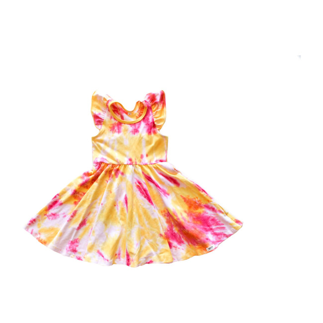 Ruffle Twirly Tie Dye Dress, Pink & Yellow