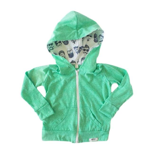 Zip Up Hoodie, Green Beatnik Print
