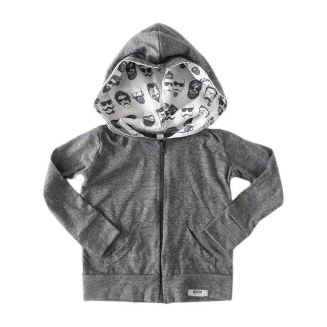 Zip Up Hoodie, Grey Beatnik Print - Sweatshirts - 1