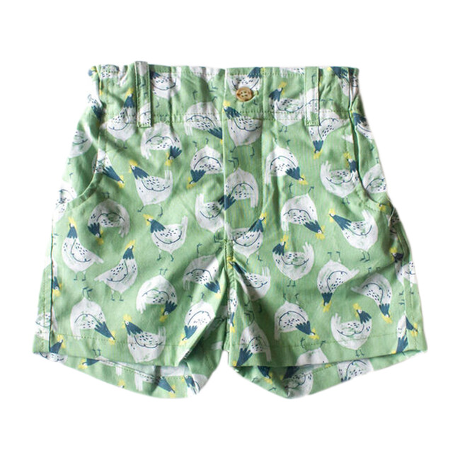 Shorts, White & Green Chickens
