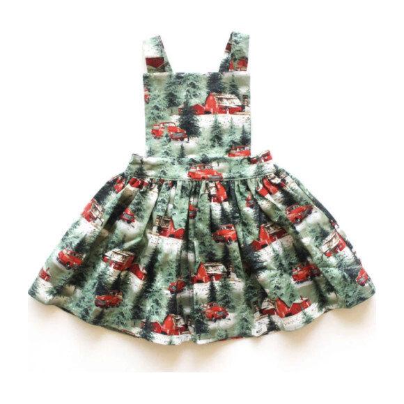Pinafore Holiday Dress, Green