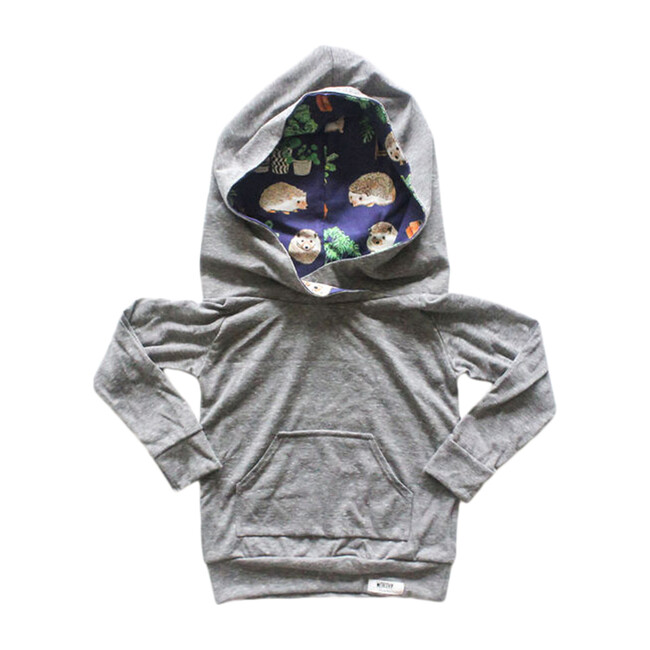Hoodie, Grey Hedgehog Print - Sweatshirts - 1 - zoom