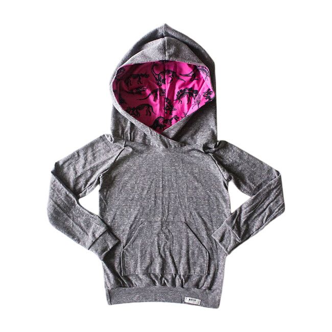 Hoodie, Grey Dino Print - Sweatshirts - 1