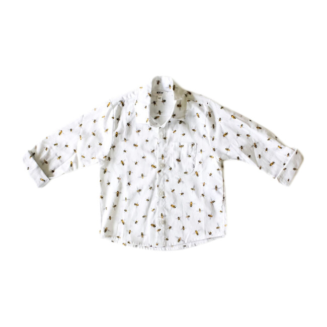 Honey Bee Button Down, White - Shirts - 1