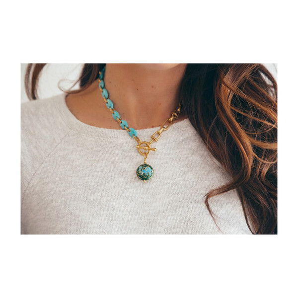 Ellie Necklace, Gold/Turquoise