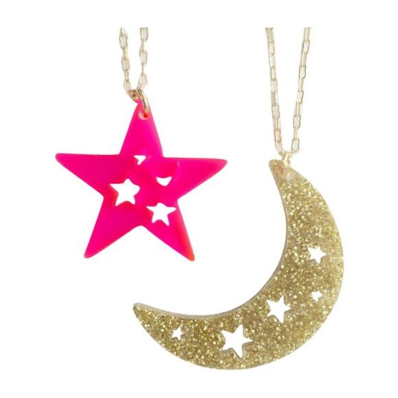 Dream Charms Necklace Set, Gold & Pink