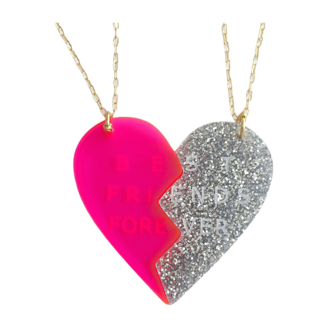 Heart Charms Necklace Set, Silver/Pink