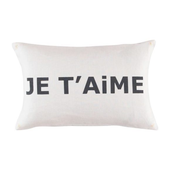 """Je t'aime"" Cushion, White & Gray"