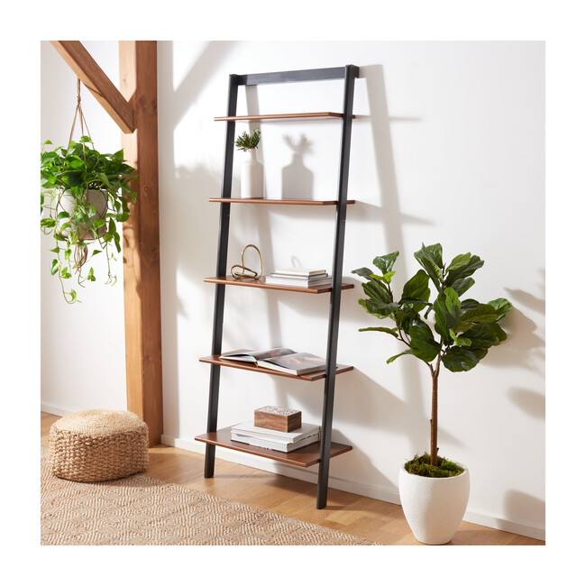 Cullyn 5-Tier Leaning Etagère, Honey Brown/Charcoal
