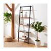 Cullyn 5-Tier Leaning Etagère, Honey Brown/Charcoal - Bookcases - 2