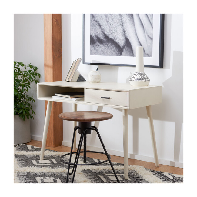 Remy 1-Drawer Writing Desk, Distressed White
