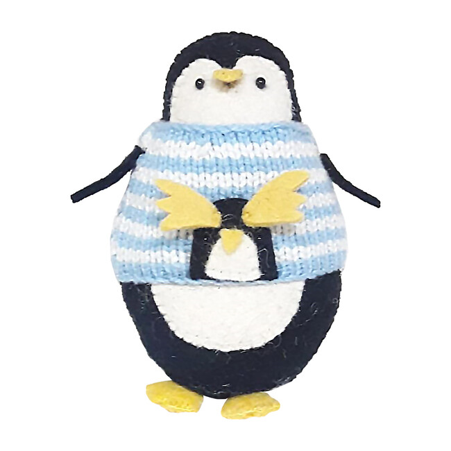 Penguin with Jumper Standing Decor, Black/Light Blue