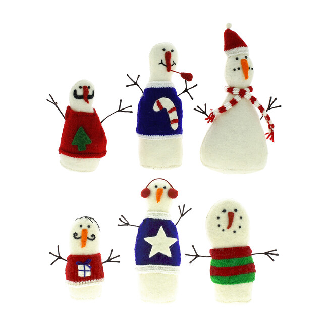 Set of 6 Snowmen with Jumpers Standing Decor, Multi
