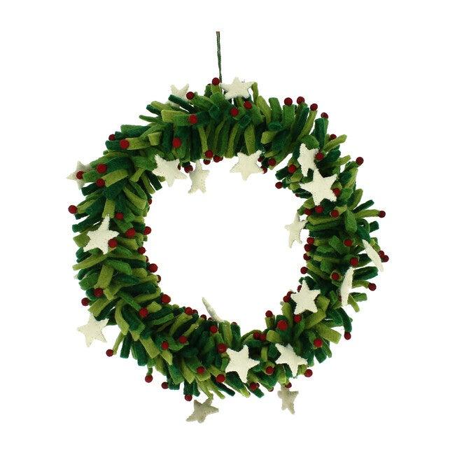 Stars and Berries Wool Felt Wreath, Green/White
