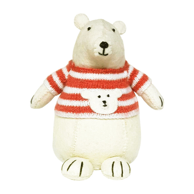 Polar Bear with Jumper Standing Decor, White/Red