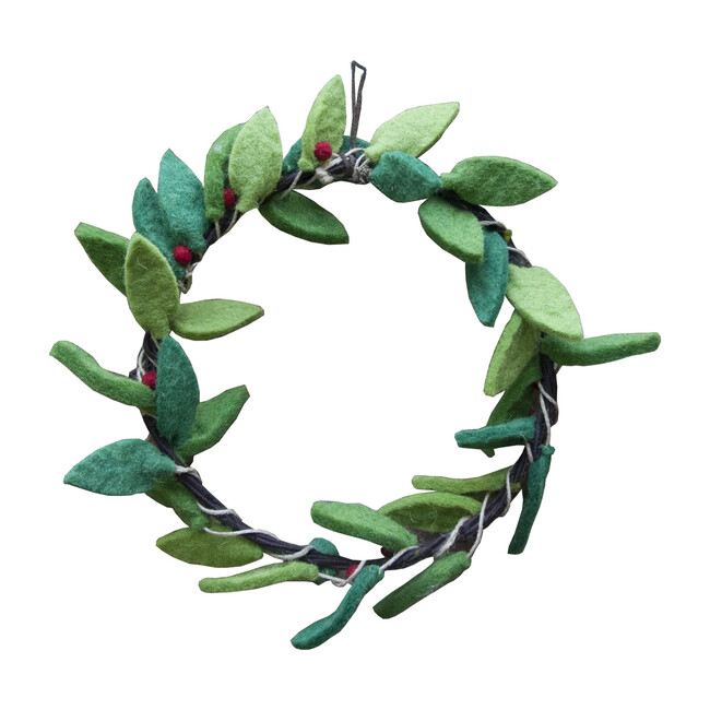 Leaf and Berry Wool Felt Wreath, Green