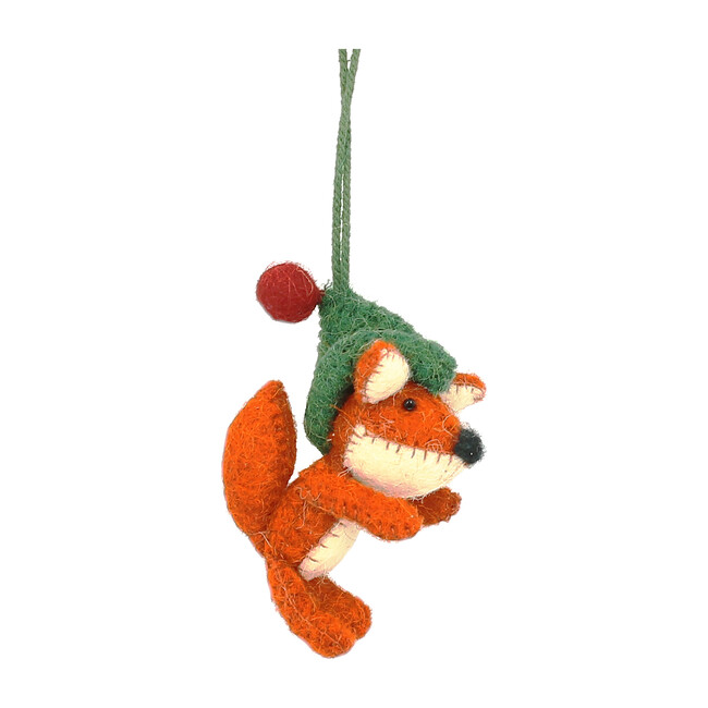 Set of 6 Fox Sitting with Hat Ornaments, Orange/Green