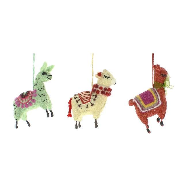 Set of 3 Llama Ornaments, Multi