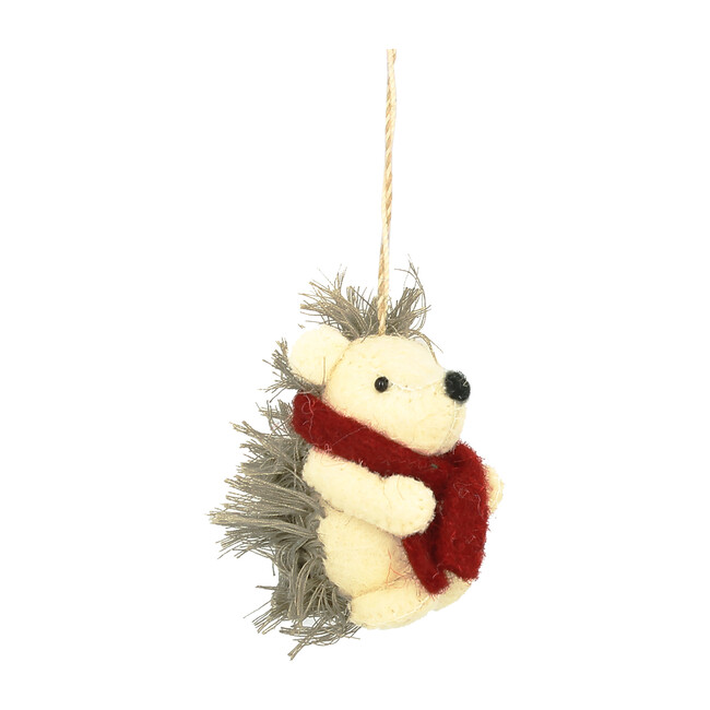 Set of 6 Hedgehog with Scarf Ornaments, Grey/Red