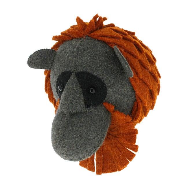 Mini Orangutan Head, Charcoal/Rust