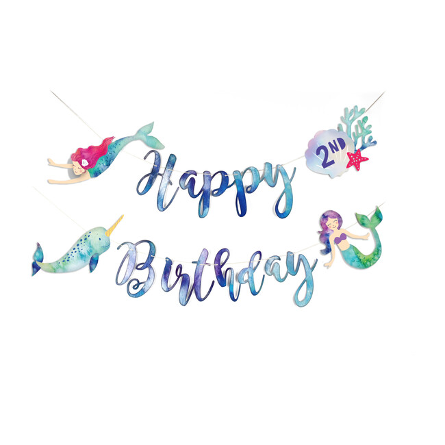 Mermaid and Narwhal Party Birthday Banner
