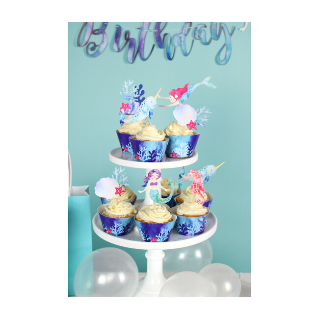 Mermaid and Narwhal Party Cupcake Toppers