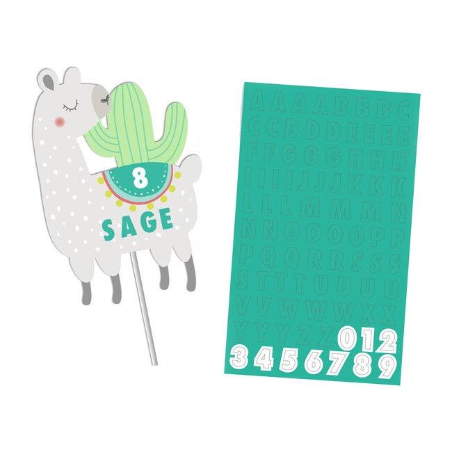 Llama and Cactus Custom Cake Topper