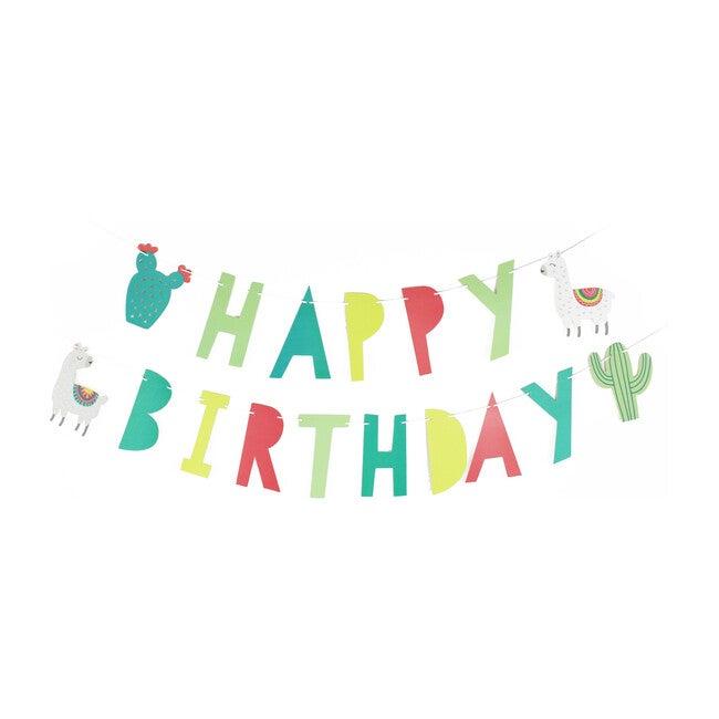 Llama and Cactus Birthday Banner