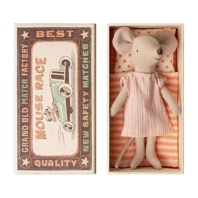 Big Sister Mouse in Nightgown in Matchbox