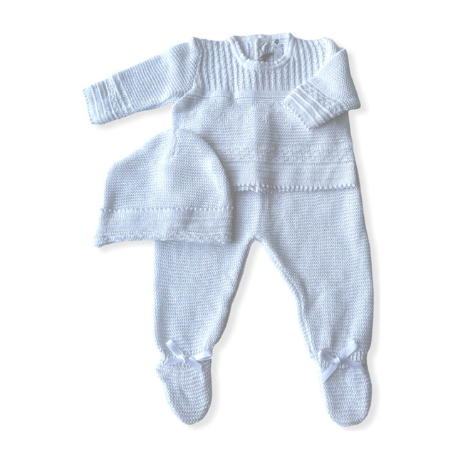 Knitted 3-Piece Set, White