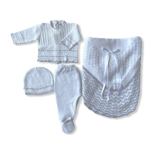 Take Me Home Bundle, White & Grey Knitted 3-Piece Set & Blanket