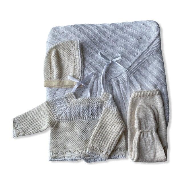 Take Me Home Bundle, Beige & White Knitted 3-Piece Set & Blanket