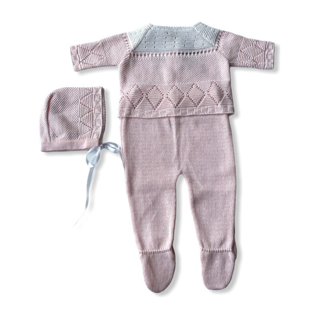 Knitted 3-Piece Set, Pink & White