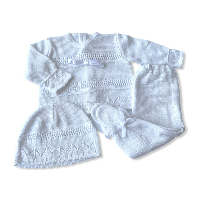 Knitted 3-Piece Set, White with Bow