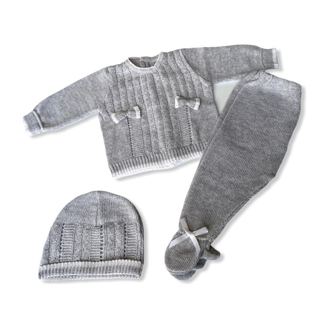Knitted 3-Piece Set, Grey