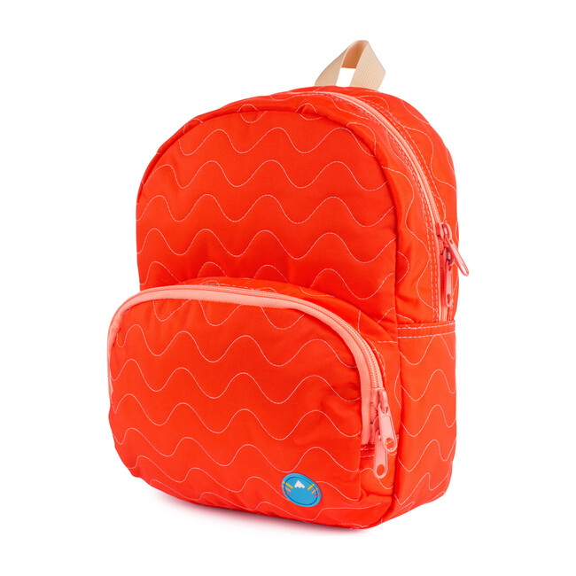 Quilted Mini Backpack, Red Orange - Bags - 1